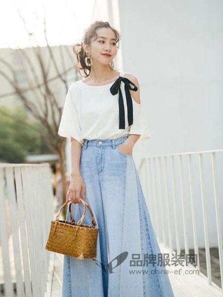 艾蜜雪女装2018春夏百搭宽松大码阔腿喇叭裤裙牛仔裤女裤