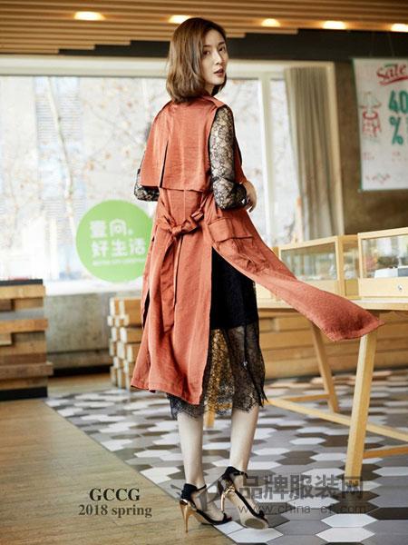GCCG女装2018春夏时尚气质潮流长袖显瘦百搭风衣外套大衣