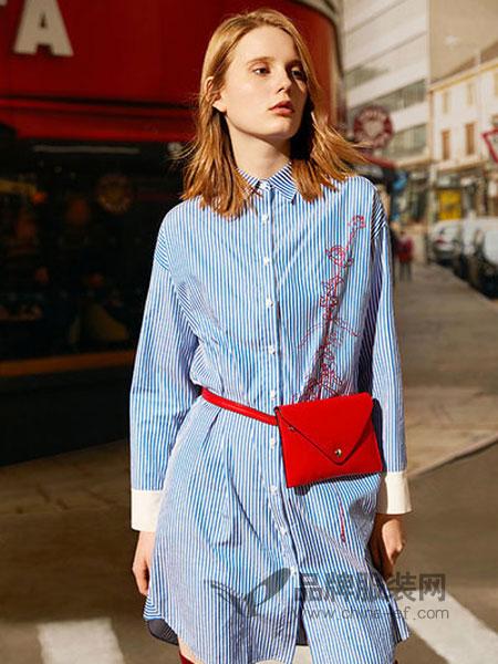 玛格丽女装2018春夏新款连衣裙女修身蓝色条纹拼接衬衣裙时尚