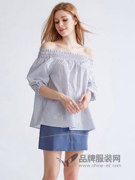 美丽哲学女装2018春夏时尚长袖条纹t恤一字领露肩性感上衣