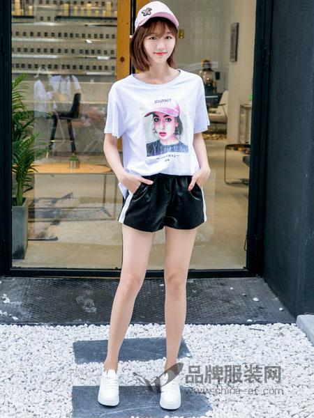 美丽哲学女装2018春夏新款韩版美女图案短袖T恤