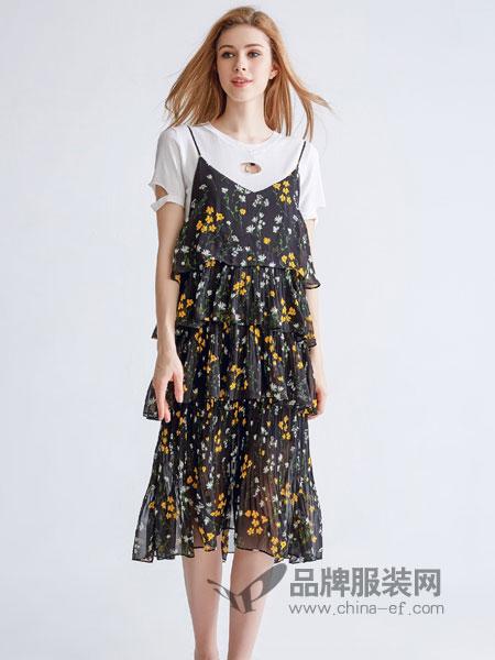 美丽哲学女装2018春夏中长款宽松时尚气质两件套连衣裙