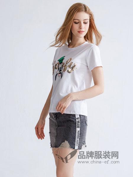 美丽哲学女装2018春夏新款短袖圆领套头T恤衫中腰两件套