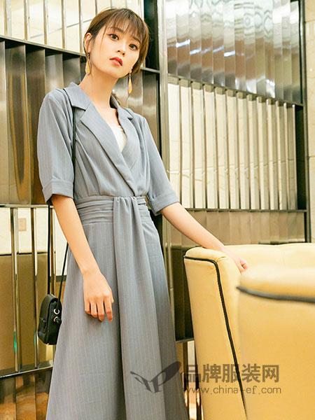 芬拉女装2018春夏灰色高腰中长款西装领连衣裙