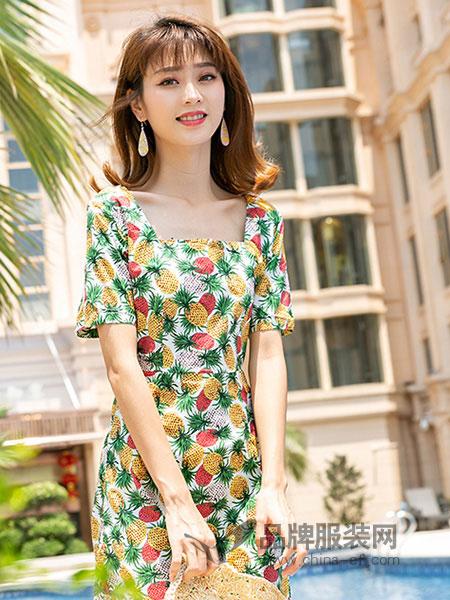 芬拉女装2018春夏菠萝印花修身显瘦连衣裙