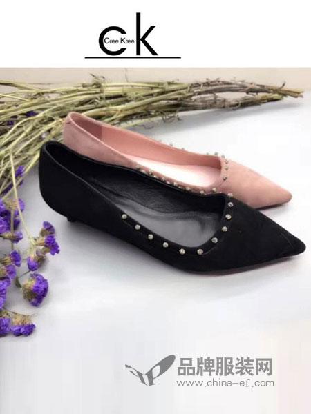 Cree Kree鞋帽/领带韩版尖头单鞋女浅口粗跟平底百搭平跟女鞋