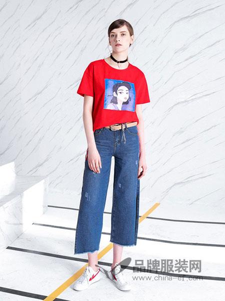 anothe home女装2018春夏宽松女装短款短袖套头T恤衫上衣