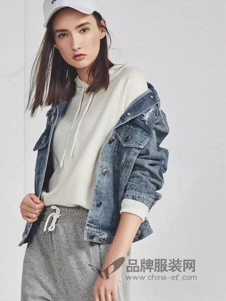 婉枫女装2018秋季牛仔外套女短款假两件韩版上衣夹克