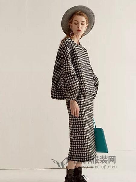LU JOE女装2018秋季羊绒时尚羊毛短外套8分袖阔腿裤圆领毛呢套装