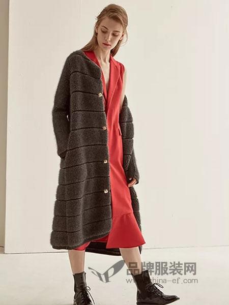 LU JOE女装2018秋季韩版时尚加厚大衣秋冬仿水貂绒开衫