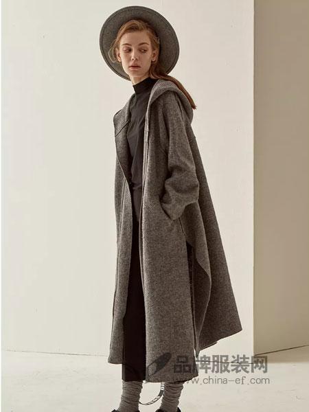 LU JOE女装2018秋季羊驼毛保暖加厚系带显瘦毛呢大衣外套