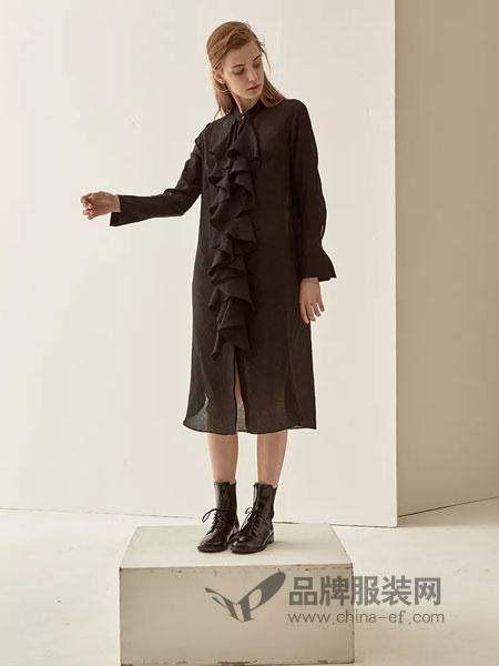 LU JOE女装2018秋季荷叶边半门襟翻领廓形衬衫裙