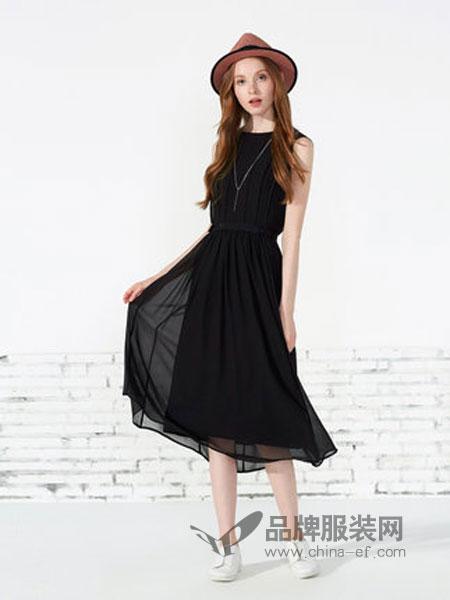 可姿.伊女装新款女装时尚韩版圆领无袖中长款连衣裙