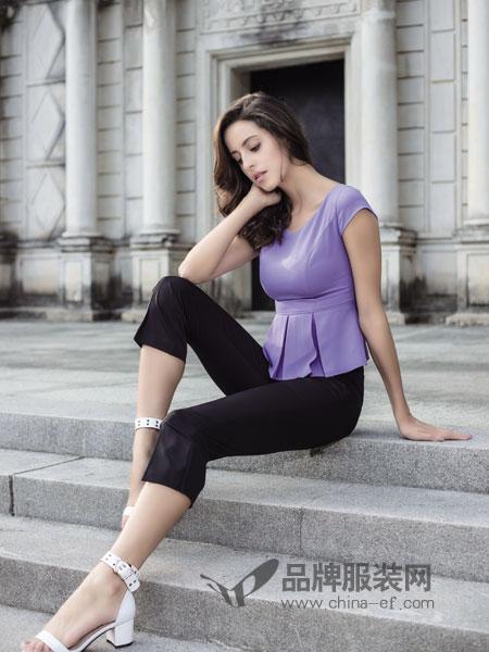 百诗雅兰女装2018春夏韩版气质修身显瘦纯色时髦两件套潮