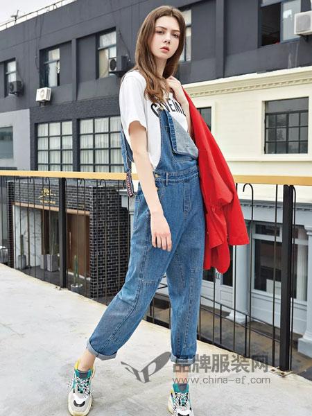 爱领领久ALLJ女装2018秋季背带裤复古时尚宽松牛仔连体裤