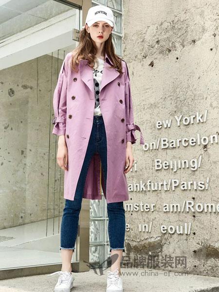 爱领领久ALLJ女装2018秋季新款中长款气质修身时尚腰带系带风衣女外套