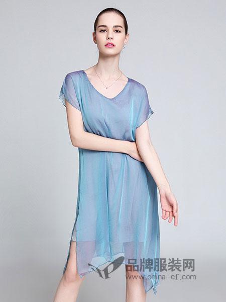 名莎misavogue女装2018春夏时尚韩版两件套宽松渐变色连衣裙