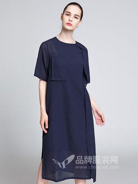 名莎misavogue女装2018春夏 圆领侧边拼接蕾丝短袖连衣裙长裙