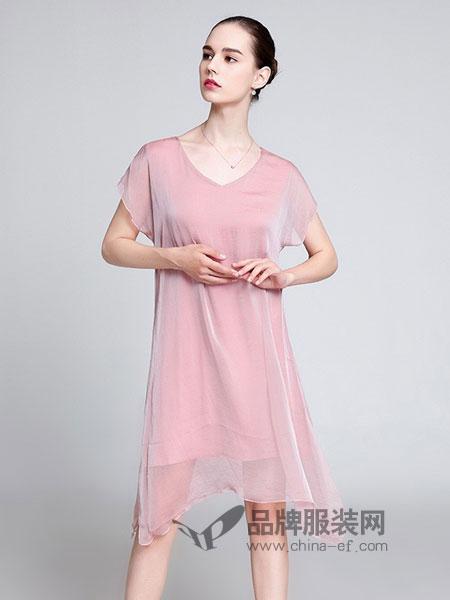 名莎misavogue女装2018春夏新款纯色薄纱休闲宽松不规则雪纺裙