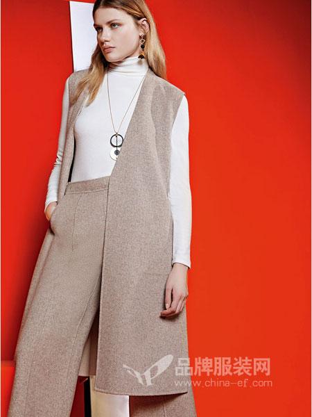 JAOBOO 乔帛女装2018秋季气质羊毛羊绒马甲女中长款无袖宽松毛呢大衣
