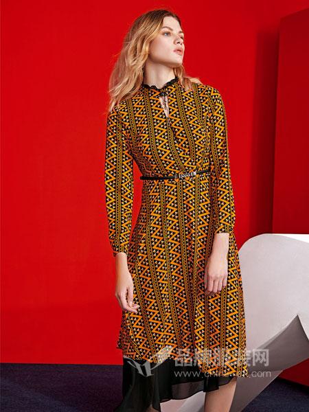 JAOBOO 乔帛女装2018秋季气质显瘦韩版度假不规则雪纺长裙
