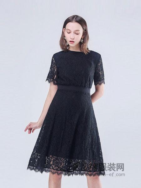 似水年华女装2018春夏新款小个子高腰显瘦蕾丝短袖中长裙a字裙