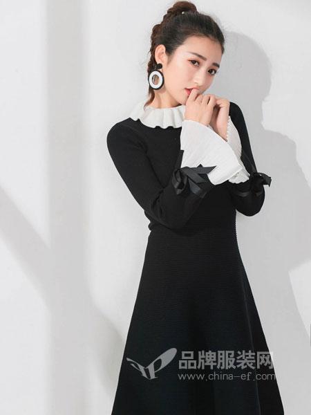 M+女装2018秋冬修身显瘦蝴蝶结领七分袖打底连衣裙
