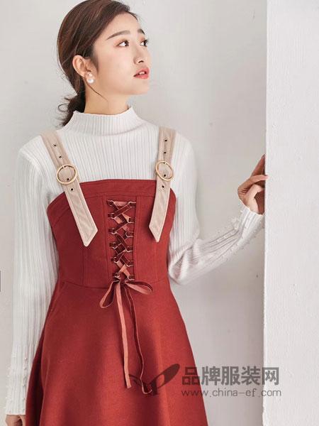 M+女装2018秋冬显瘦系带纯色短裙百搭吊带裙子潮