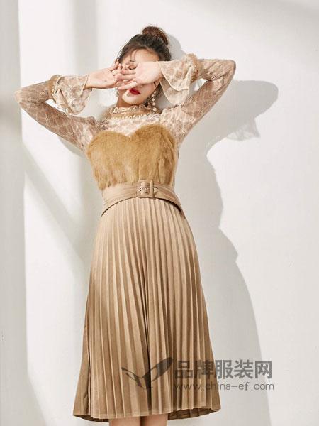 M+女装2018秋冬中长裙高腰羊毛百褶连衣裙性感潮