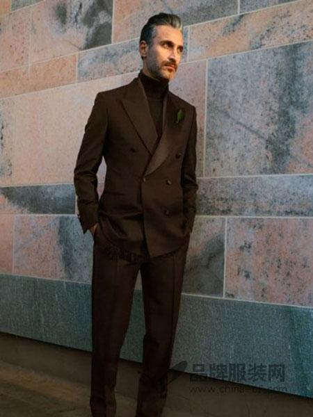 Brioni布里奥尼男装2018秋季韩版修身潮流小西装两件套商务正装礼服