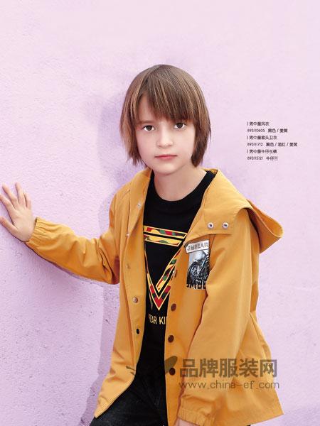 杰米熊童装2018秋季外套小孩子纯色外套儿童纯色风衣