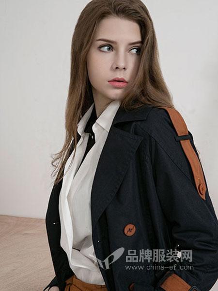 卡伊奴女装2018秋季纯色呢子毛呢外套短款V领修身显瘦