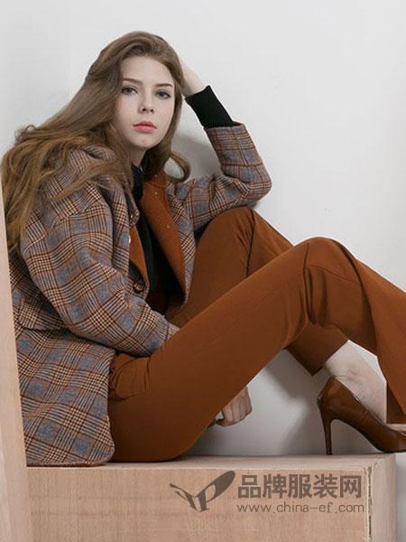 卡伊奴女装2018秋季韩版格子毛呢外套修身显瘦长款呢子大衣