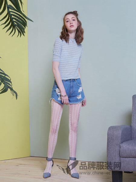 冰洁女装2018春夏新款中袖条纹短袖T恤女修身短T恤