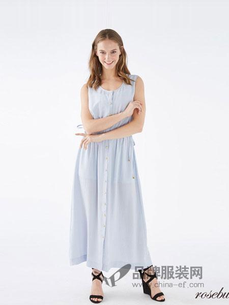 玫瑰子弹Rosebullet女装2018春夏新款无袖收腰系带中长裙