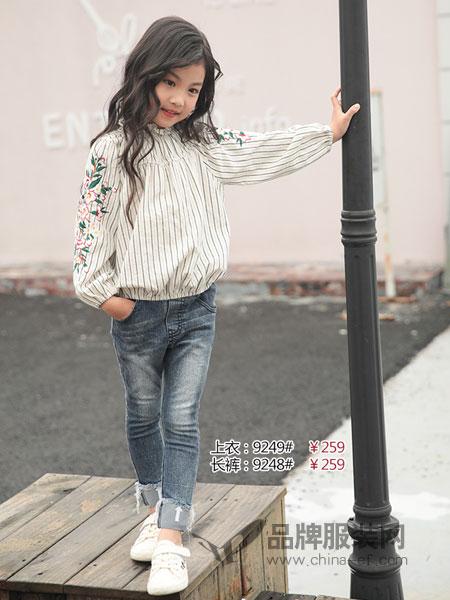 米芝儿MIZHEEL童装2018秋冬新款韩版童装中大童条纹绣花公主上衣
