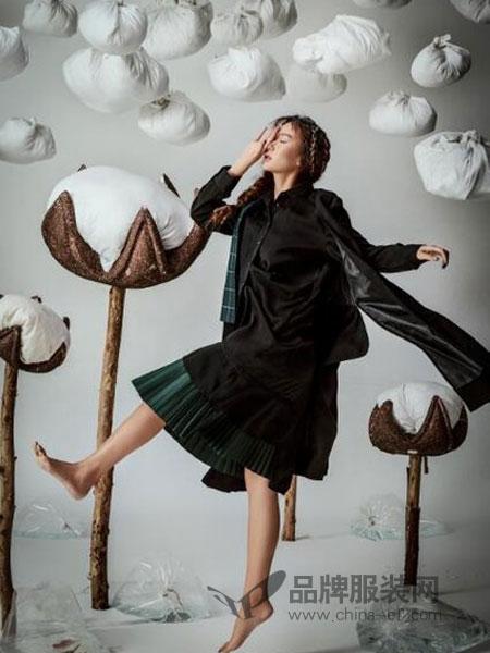 Zimple女装2018秋季套头荷叶边裙中长款荷叶袖连衣裙