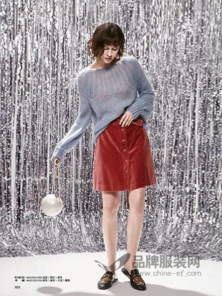 米祖女装2018秋冬针织衫套头韩版羊毛衫宽松灯笼袖毛衣