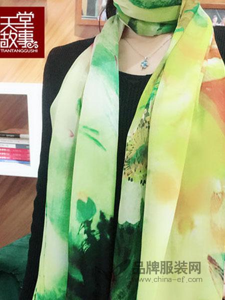 天堂故事丝巾2018春夏100%桑蚕丝围巾披肩雪纺长巾丝绸礼品