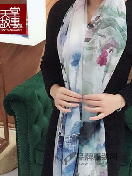 天堂故事丝巾2018春夏桑蚕丝围巾披肩雪纺长巾丝绸