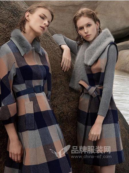 保时霓女装2018秋冬双面呢中长款韩版收腰羊毛呢大衣