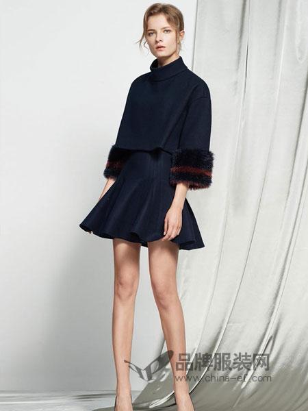 保时霓女装2018秋冬新款收腰西装领连肩七分袖双面呢大衣