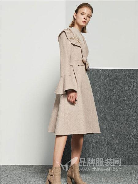 保时霓女装2018秋冬韩版修身腰带毛呢外套中长款