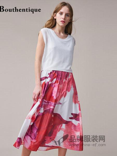 bouthentique女装2018春夏新款双层拼接真丝印花松紧腰连衣裙