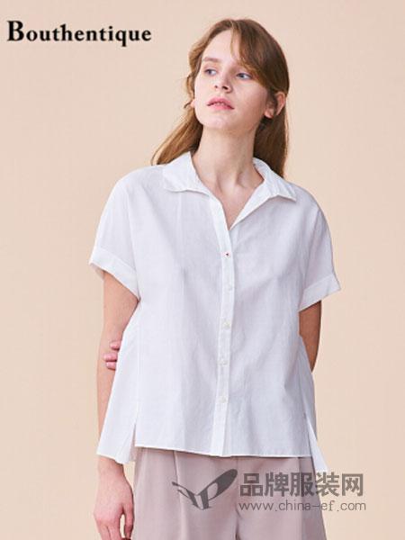 bouthentique女装2018春夏新款舒适随性素雅短袖衬衫白色衬衣上衣