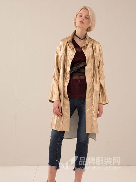 奕色女装2018秋季韩版纯色单排扣抽绳设计长袖中长款女风衣百搭