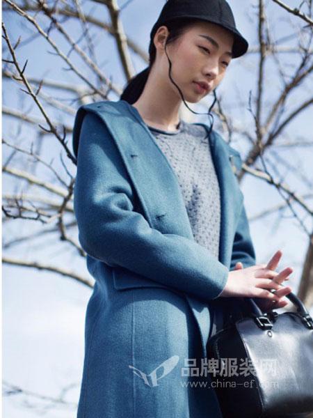 席牌女装2018秋季毛呢外套冬蓝系带中长双面羊毛尼大衣
