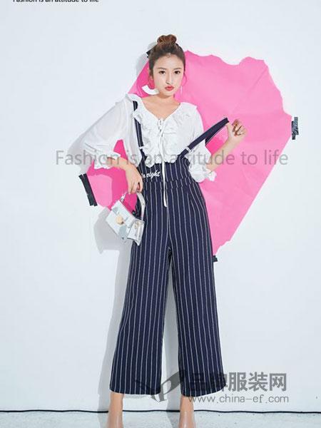 泰慕诗女装2018秋季新款修身显瘦吊带阔腿裤时髦两件套