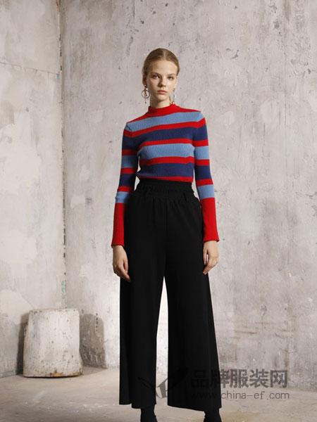 摩安娜mo女装2018秋冬条纹修身显瘦喇叭袖针织衫毛衣