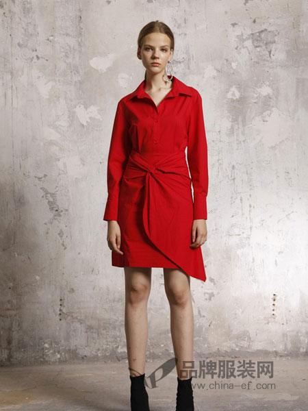 摩安娜mo女装2018秋冬收腰橘红色长袖衬衣衬衫式连衣裙小红裙